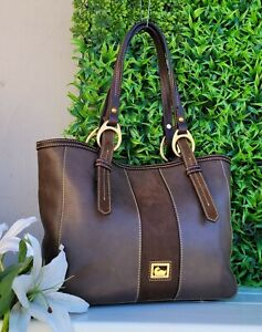Dooney & Bourke florentine CHARCOAL Leather Becket E/W skylar Handbag tote purse