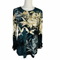 New Susan Graver Womans Sz Small Bling Black Floral Long Sleeve Stretch
