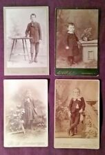 4 Cabinet Card Photos Young Boys in Dresses & Fancy Suits High Button Boots (B)