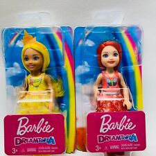 Barbie Dreamtopia Sprite Dolls Yellow, Red Hair Rainbow Chelsea Lot of 2