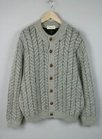 -Vintage!- RUSELOY Men ~M-L* Mohair Blend Thick Knitted Cardigan 17527_S
