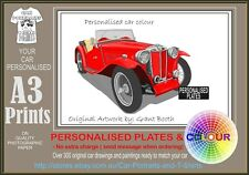 45-50 MG TC A3 ORIGINAL PERSONALISED PRINT TO MATCH YOUR CAR CLASSIC RETRO CAR