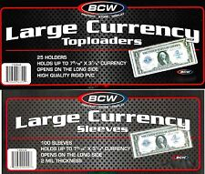 400 Large Bill Currency Toploader Rigid Plastic Holders plus 400 Large Sleeves