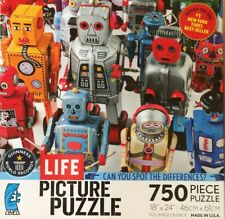 Life Picture Puzzle License plates 750 Pieces Robots Spot The Differences