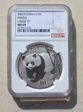 NGC MS69 China 2001 1oz Silver Panda Coin with D Mark
