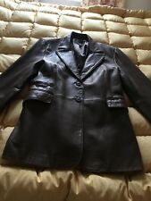 H&M Lambs Nappa Soft Leather Fully Lined Button-Up Brown Jacket size 18 (UK)