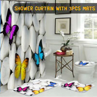 Butterfly Bathroom Polyester Shower Curtain Non Slip Toilet Cover Rugs Mat Set