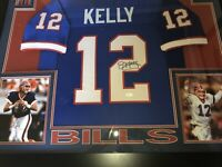 "NEW Jim Kelly Signed Buffalo Bills 35"" x 43"" Custom Framed Blue Jersey (JSA COA)"