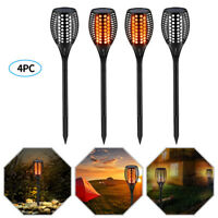 4× 96 LED Solar Torch Light Walkway Flickering Dancing Flame Outdoor Garden Lamp