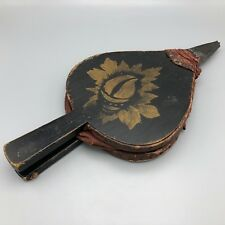 Antique Victorian Wood and Leather Fireplace Bellows with Painted Floral Design