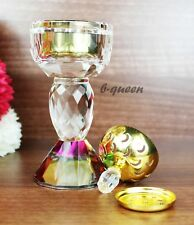 CRYSTAL CUT GLASS GOLD BAKHOOR BURNER ISLAMIC INCENSE FOR EID RAMADAN GIFT BOX
