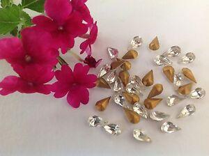 Vintage Czech Pear shape Foiled rhinestones Crystal CRAFT DESIGN Post Free
