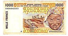 COTE D' IVOIRE IVORY COAST WEST AFRICAN STATEs Billet 1000 Francs 1999 P111A
