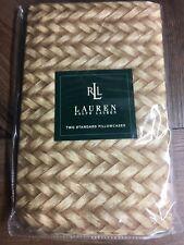 NEW Ralph Lauren Set Two (2) Desert Plains Wicker Standard Pillowcases Pair