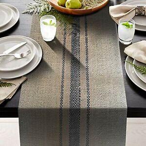 """3 blue stripes Vintage grain sack  -12"""" x 72"""" Burlap Table Runner fringe edges"""