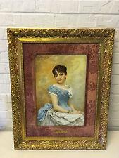 Antique 1885 Hortense Richard Signed Painted Large Porcelain Plaque Lovely Woman