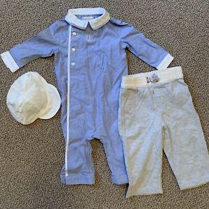 RALPH LAUREN Lot Set (3) Piece Romper Pants Hat 6 Months 6M