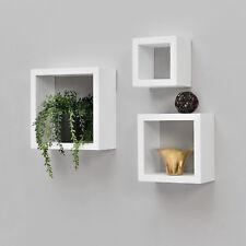 [en.casa] Lot de 3 étagère murale étagères à suspendre à livres Cube salon CD