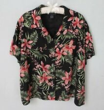 Charter Club Woman black floral rayon short sleeve button front shirt *Sz 20W*