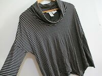 Womens Long Sleeve Tee Shirt M L Stretch Top Black Stripe Oversized Sharkbite