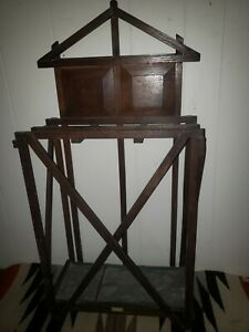 antique  arts & craft mission style solid oak umbrella stand original finish