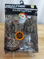 NWT Men's RealTree Warm Base Layer Long Sleeved Crew Neck Camo Pullover Top-L