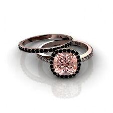 2.00Ct Morganite and Black Diamond Halo Engagement Ring 14K Rose Gold Finish