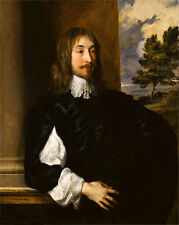 Oil painting Anthony van dyck - Portrait of Sir William Killigrew in landscape @