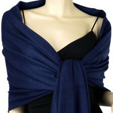 Navy Blue Pashmina Silk Scarf Soft Shawl Wrap Solid Color P#12
