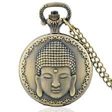 Maitreya Buddha Antique Bronze Quartz Pocket Watch Pendant Necklace + FREE Gift