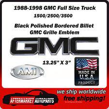 88-98 GMC Full Size Truck 3500 Black Polished Front Grille Emblem AMI 96503KP