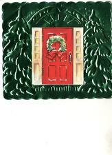 Vintage Aluminium Christmas Card:  SNOWY DOORWAY