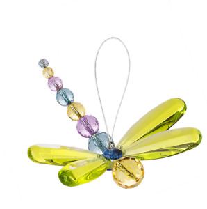 Ganz Crystal Expression Acrylic Green Beaded Dragonfly   Suncatcher Free Ship