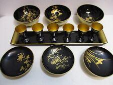 Lacquer ware Sake Set 13pc, 6 Bowls 6 Stemmed Glasses & Tray Vtg Aizu Wakamatsu
