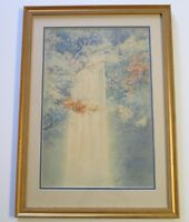 FINE JAPANESE ? PAINTING WATERFALL ANTIQUE LANDSCAPE ART DECO TONALIST SIGNED