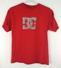 DC Shoes Mens T-Shirt Houndstooth Plaid Logo Graphic Tee Red Size Large
