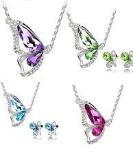Schmuckset Schmetterling Halskette Ohrringe Damen Mädchen Geschenk Silber