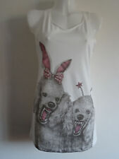 Psycho Bunny Poodle Vest Top / Dress - Size 10-12 - White Dog Horror Alternative