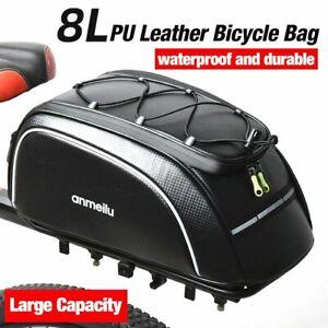 8L Bike Rear Seat Bag Bicycle Backseat Cycling Pannier Rack Trunk Travel Bag PU