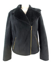 Chaps Faux Suede Jacket Short Coat Black Super Soft Faux Fur Lining Women's M