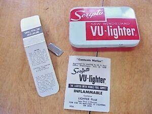 Original Vintage Scripto Windguard Vu-lighter Tin & Paperwork-No Lighter