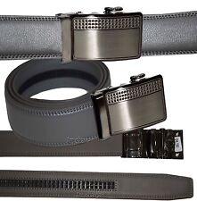 Men's Gray Leather Dress Belt, Automatic sliding Lock buckle, Leather strap belt