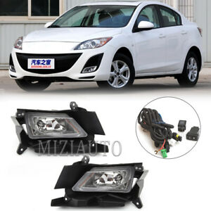 For 2010-2011 Mazda 3 Bumper Fog Lights Driving Lamps w/Switch Left+Right Set
