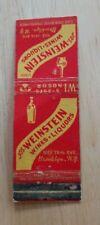 Vintage Matchbook Jos Weinstein Wines Liquor Store  Brooklyn New York City 18th