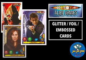 Dr Doctor Who Panini Alien Armies Glitter / Super / Emboss Foil Cards - Pick!