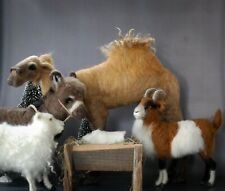 Needle Felted Christmas Nativity Set Sheep Camel Donkey Goat Wool Sculpture