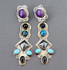 Native American Indian Large Multi Stone Dangle Earrings