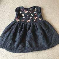 Baby Girls Blue Lace Floral Flower Embridored Party Dress Christmas 12-18 Months