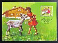"Schweiz Maximumkarte ""HEIDI"" Mi.1284 auf Postkarte Ersttag-Sonderstempel"