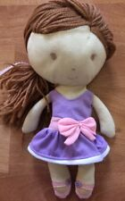 ANIMAL ADVENTURE BALLERINA DOLL BROWN YARN HAIR STUFFED PLUSH PURPLE DRESS BOW